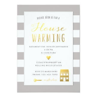 "Grey Stripes - Gold House Warming Party Invitation 5"" X 7"" Invitation Card"
