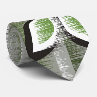 Grey stripes green petals modern wet paint tie