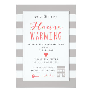 Grey Stripes House Warming Party Invitation