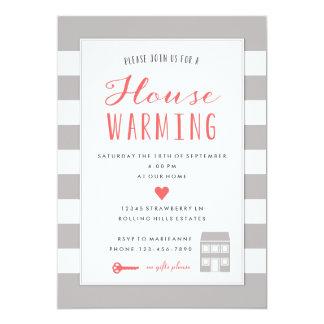 "Grey Stripes House Warming Party Invitation 5"" X 7"" Invitation Card"
