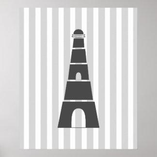 Grey Stripes Nautical Lighthouse Poster