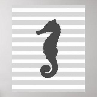 Grey Stripes Nautical Seahorse Poster