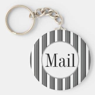 Grey Stripes on White Mail Key Keychain