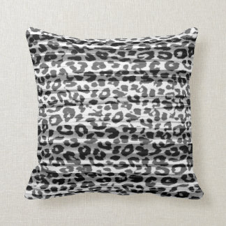 Grey stripes pattern leopard fur abstract throw pillow