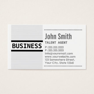 Grey Stripes Talent Agent Business Card