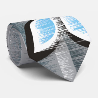 Grey stripes three blue petals modern wet paint neck tie