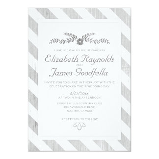 Grey Stripes Wedding Invitations