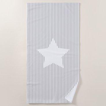 Beach Themed Grey Stripes & White Star Beach Towel