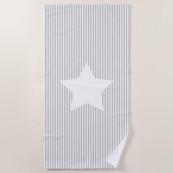 Grey Stripes & White Star Beach Towel