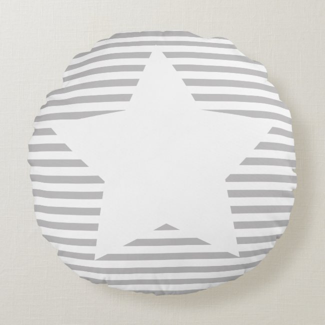 Grey Stripes & White Star - Round Pillow