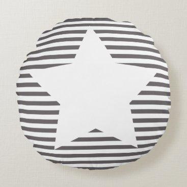 Beach Themed Grey Stripes & White Star - Round Pillow