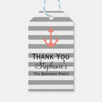Grey Stripes with Coral Pink Anchor Birthday Gift Tags