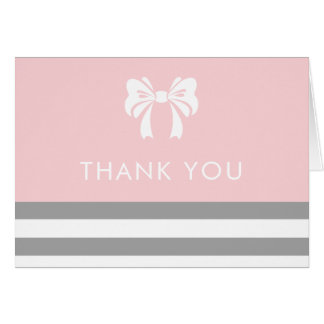Grey Stripes with White Bow Baby Shower Thank You Card