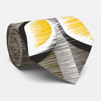 Grey stripes yellow petals modern wet paint tie