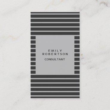 Grey Stripped Minimalist Modern Plain Creative Business Card