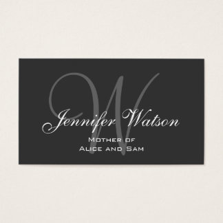 Grey Stylish Monogram Mommy Calling Card