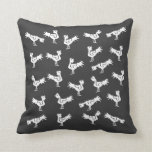 Grey stylized roosters pillows