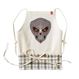 Grey Sugar Skull With Red Cross Eyes Zazzle HEART Apron