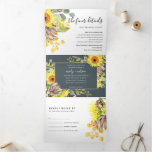 GREY SUNFLOWER EUCALYPTUS WATERCOLOR FLORA WEDDING Tri-Fold INVITATION