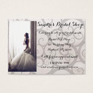 Bridal shop business cards templates zazzle grey swirl bride bridal shop business card reheart Images
