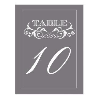 Grey Swirl Vintage Wedding Table Number Cards