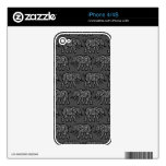 Grey Swirling Elephant Pattern iPhone 4 Skins