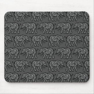 Grey Swirling Elephant Pattern Mouse Pads