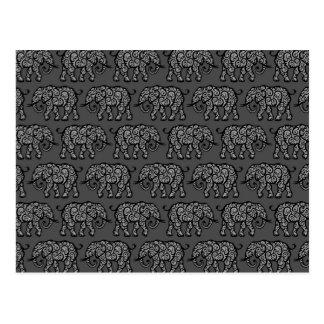 Grey Swirling Elephant Pattern Postcard