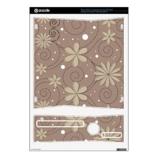 Grey Swirling Flower Design Xbox 360 S Decals