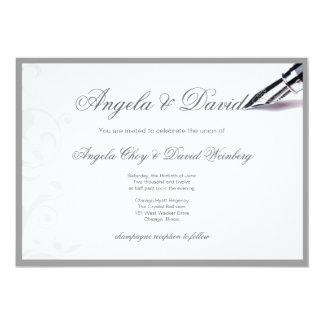 grey swirls fountain pen wedding invitation