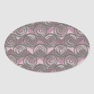 Grey Swirls on Purple Chevron Oval Sticker