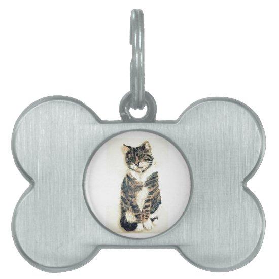 Grey Tabby Cat Art Pet ID Tag
