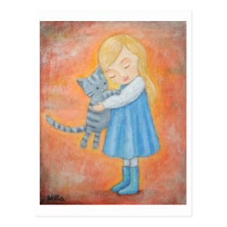 Grey Tabby Cat & Blonde Girl Hug Post Card