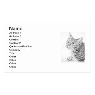Grey Tabby Cat Drawing Business Card Template
