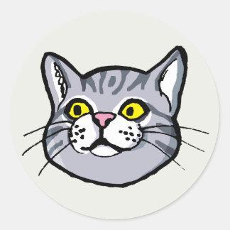 Grey Tabby Cat Drawing Round Sticker
