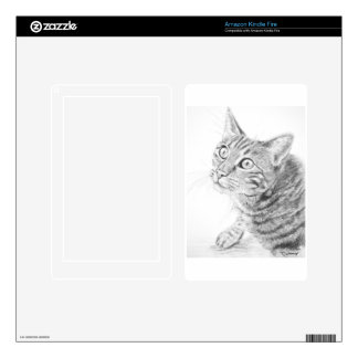 Grey Tabby Cat Drawing Kindle Fire Decal