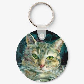 Grey-Tabby Cat Keychain keychain