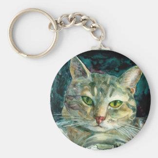 Grey Tabby Cat Keychain