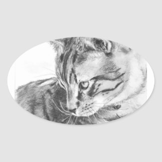 Grey Tabby Cat Sketched in Charcoal Oval Sticker