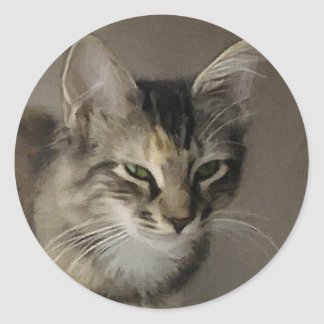 Grey Tabby Painting Classic Round Sticker