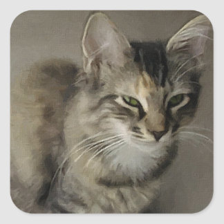 Grey Tabby Painting Square Sticker