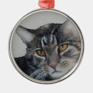 Grey Tabby Round Metal Christmas Ornament