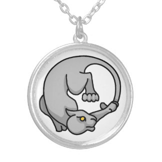 Grey Tailchaser Round Pendant Necklace