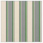 [ Thumbnail: Grey, Tan & Dark Green Lined Pattern Fabric ]
