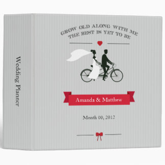 Grey Tandem Bicycle Wedding Planning Binder