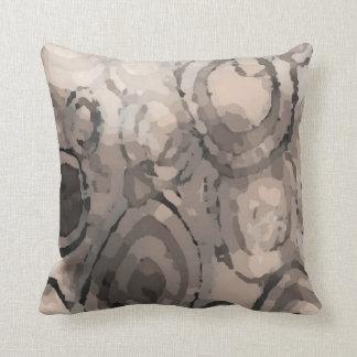 Grey Taupe Mauve Squared Circles Pattern Throw Pillow