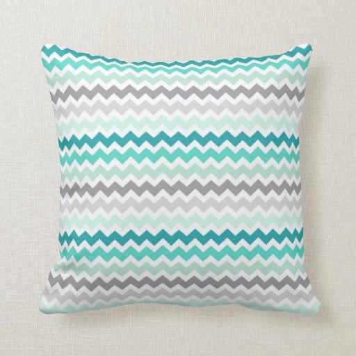 Grey Teal Chevron Decorative Pillow Zazzle