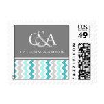 Grey Teal Chevron Monogram Wedding Stamps