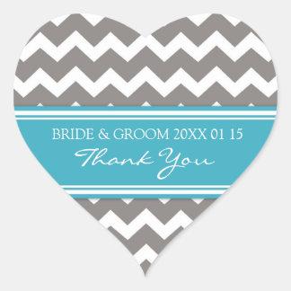 Grey Teal Chevron Thank You Wedding Favor Tags Heart Sticker
