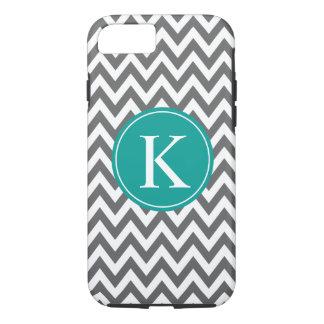 Grey Teal Green Chevron Zigzag Monogram Pattern iPhone 8/7 Case